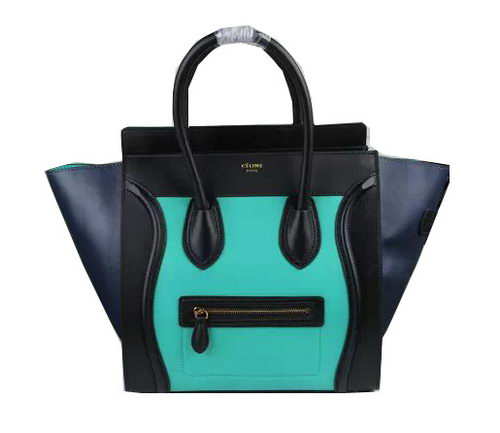 Celine Luggage Mini Bags Smooth Leather Ci3308 Green&Black&Royal