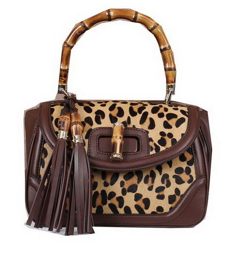 Gucci New Bamboo Top Handle Bag Horse Hair 308364 Brown
