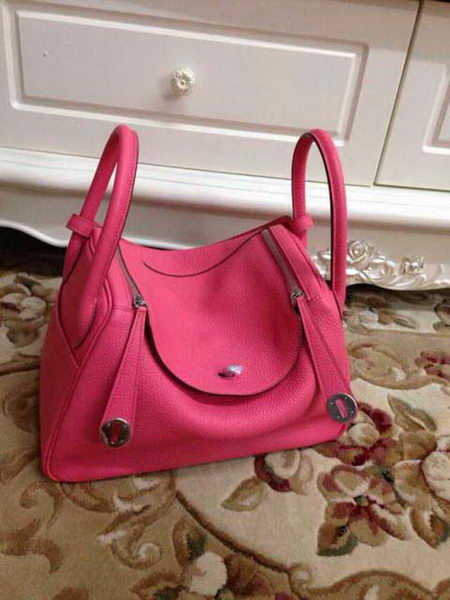 Hermes Lindy 30CM Original Leather Shoulder Bag HLD30 Rose