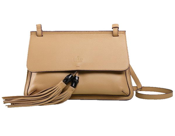 Gucci Bamboo Daily Leather Flap Shoulder Bag 370826 Apricot