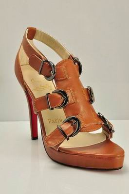 Christian Louboutin Lima Buckled Sandal in Brown
