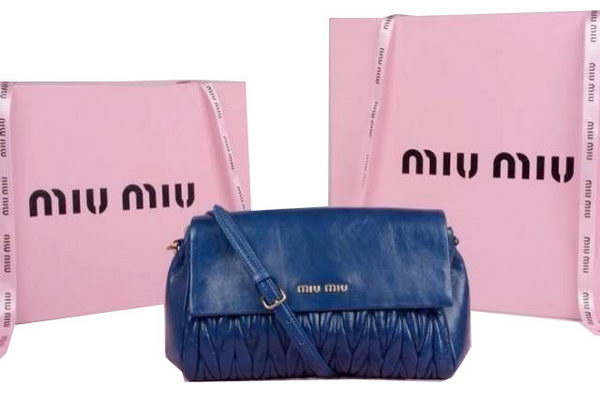 miu miu Pressed Matelasse Nappa leather Shoulder Bag RP0350 Blue