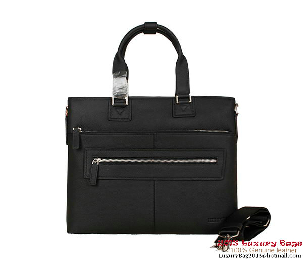 Hermes Mens Briefcase Calf Leather 3302-2 Black