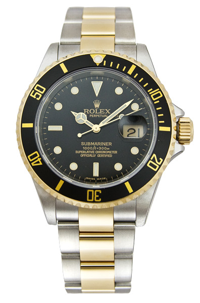 Rolex Submariner Series Submariner Date Two-Tone Steel Mens Wristwatch 16613BKSO