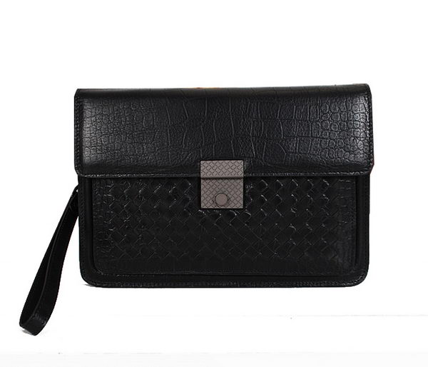 Bottega Veneta Croco Leather Clutch BV88282 Black
