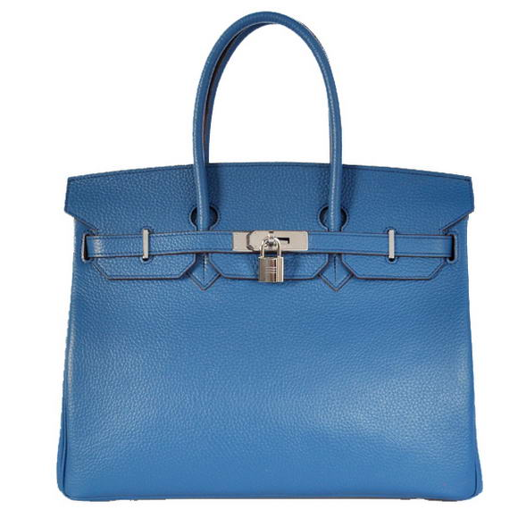 Hermes Birkin 35CM Tote Bags Togo Leather Mid Blue Silver