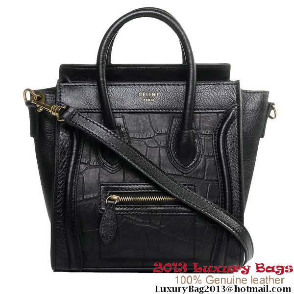 Celine Luggage Nano Boston Bags Croco Leather Black