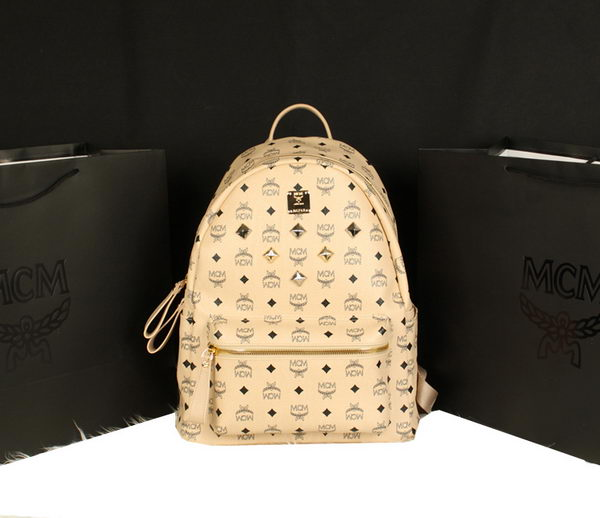 MCM Stark Backpack Jumbo in Calf Leather 8006 Apricot