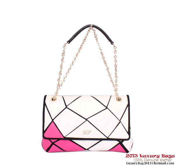 ROGER VIVIER Prismick Medium Calskin Leather Bag RV3608 White&Peach
