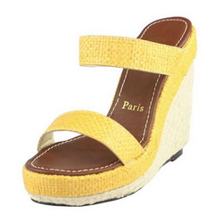Christian Louboutin 140mm Hemp Rope Wedge CL9797 Yellow