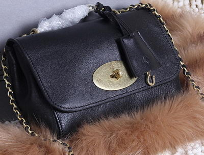 Mulberry Lily Small Grain Leather Evening Bag 7779S Black