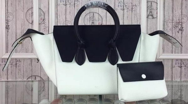 Celine Tie Top Handle Bags Original Leather CT98314 White&Black