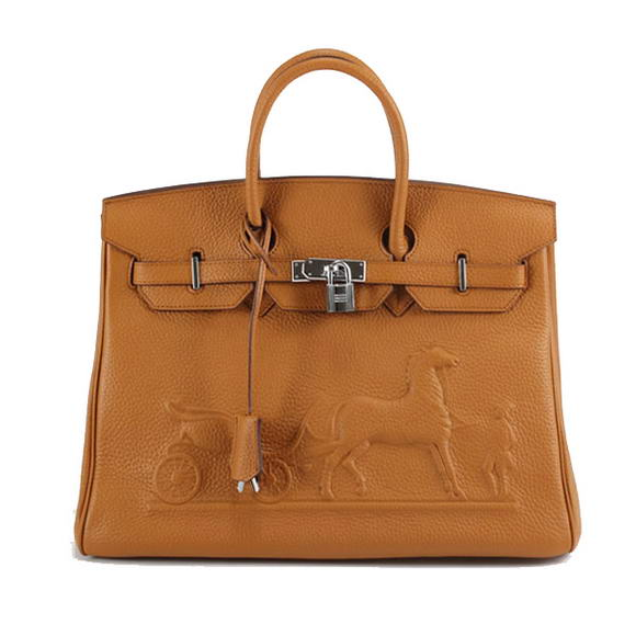 Hermes Birkin 35cm Horse-Drawn 6089 Light Coffee Silver