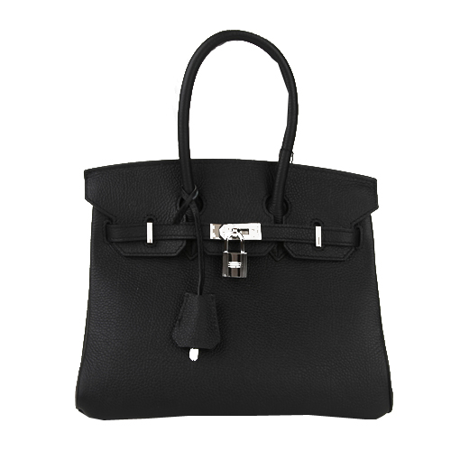 Hermes Birkin 25CM Tote Bags Black Original Leather Silver