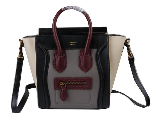 Celine Luggage Nano Bag Original Leather C3308S Grey&Burgundy&Black