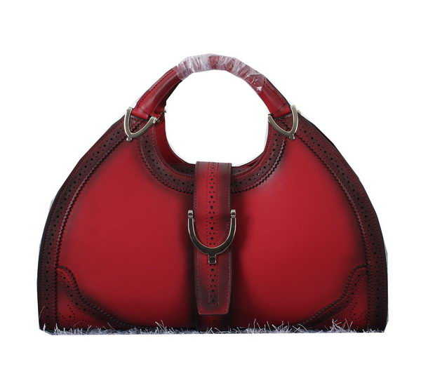 Gucci Stirrup Leather Top Handle Bag 277514 Burgundy
