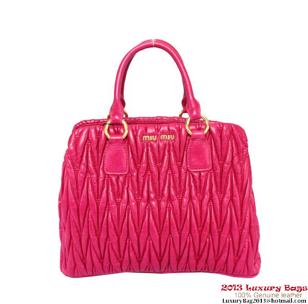 miu miu Matelasse Shiny Leather Tote Bag RN0931 Rose