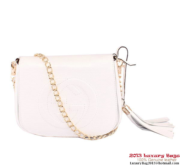 Gucci Soho Leather Chain Shoulder Bag 323190 White