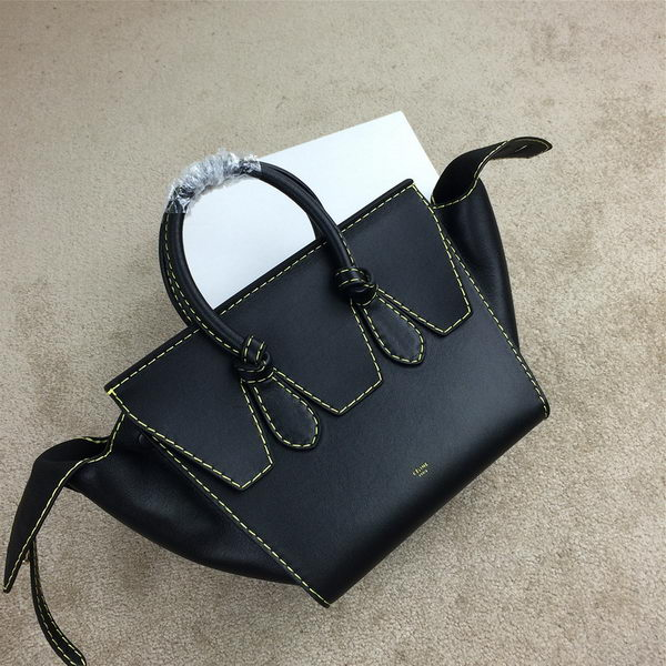 2015 Celine Tie Nano Top Handle Bag Original Leather 98313 Black