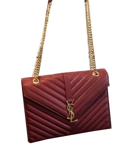 YSL Classic Monogramme Flap Bag Cannage Pattern 311224 Burgundy