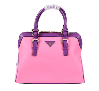 Prada Grainy Leather Top Handle Bags BL8091 Pink&Purple