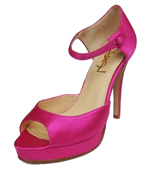 YSL front ankle strap satin high heel sandals coccinellin