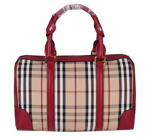 Burberry Medium Haymarket Check Bowling Bag 39386691 Burgundy