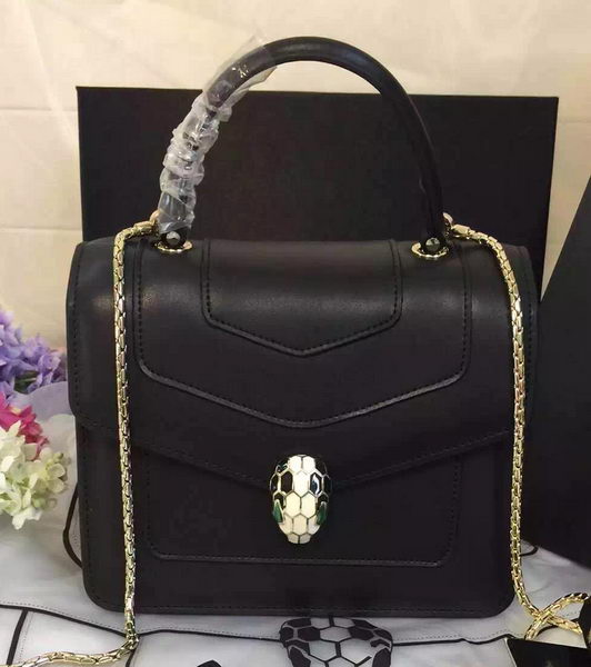 BVLGARI Serpenti Forever Bag Original Leather BG48042 Black