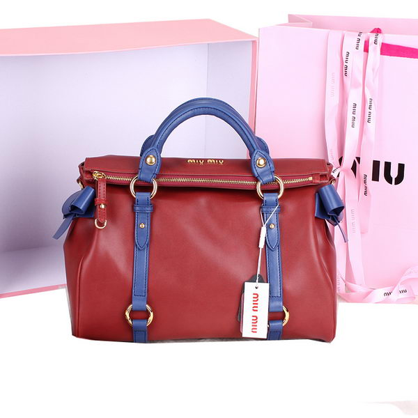 miu miu Shiny Calf Top-Handle Bag 88105 Maroon&Blue