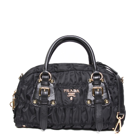 Prada BN0800 Black Gaufre Fabric Top Handle Bag