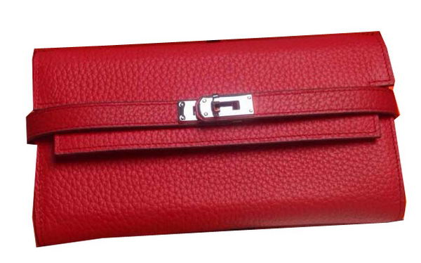 Hermes Kelly Wallet Togo Leather Bi-Fold Purse HA708W Red