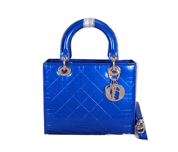 Christian Dior Patent Leather Lady Dior Bag CD0313 Blue