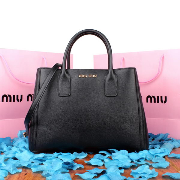 miu miu Goat Skin Leather Three Pocket Bag RN08832 Black