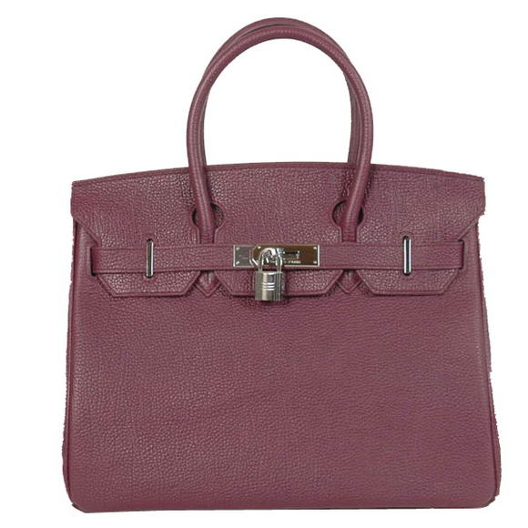 Hermes Birkin 30CM Tote Bags Smooth Togo Leather Dark Purple