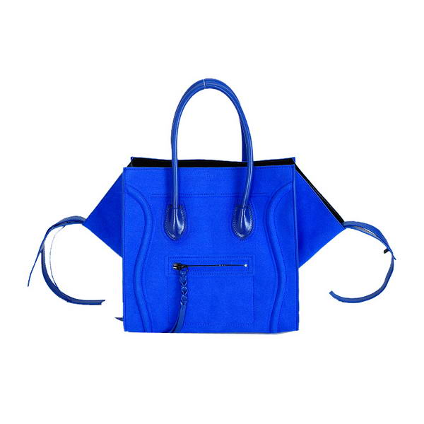 Fashion Celine Luggage Phantom Square Bags Suede Leather 80066 Blue