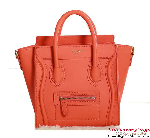 Celine Luggage Nano Boston Bag Original Leather 3309 Orange