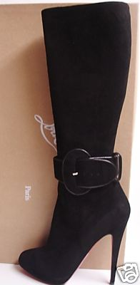 Christian Louboutin Black Sudue High Heels Boots