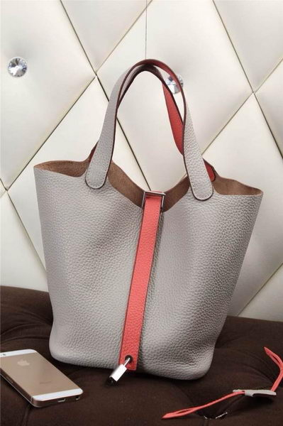 Hermes Picotin Lock MM Bag in Grainy Leather H610M Grey