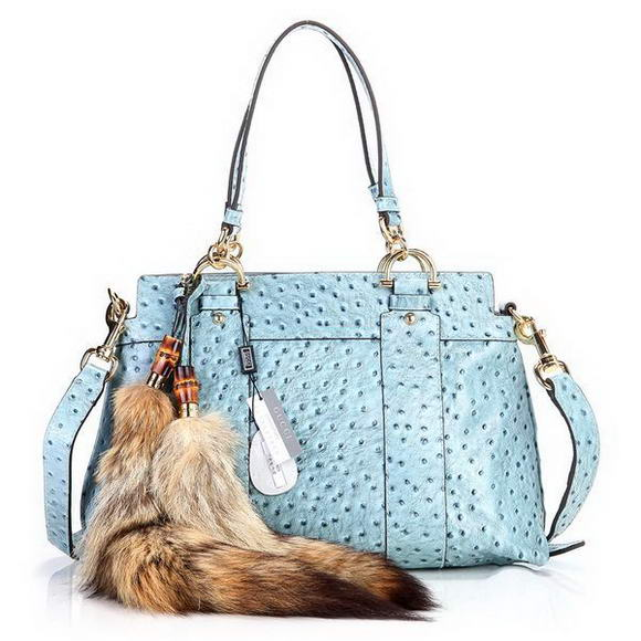 2012 Gucci Smilla Medium Top Handle Bag 269925 Blue Ostrich Veins
