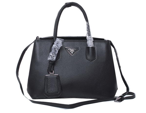 Prada Twin Grainy Leather Tote Bag BN1218 Black