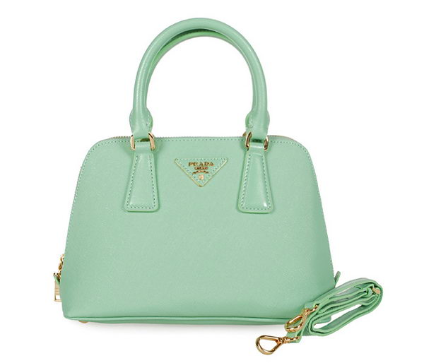 Prada Shiny Saffiano Leather Two Handle Bag BL0838 Light Green