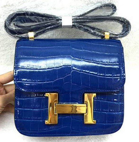 Hermes Constance Bag Croco Leather H3326 Royal