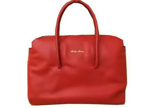 miu miu Madras Goat Leather Tote Bag RL0099 Red