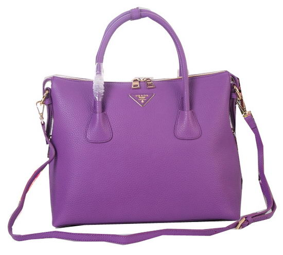 Prada Grainy Leather Two-Handle Bags BN0890 Purple
