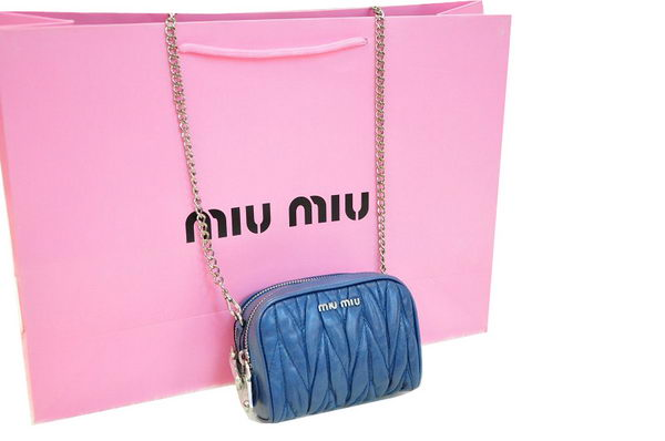 miu miu RT0075 Blue Shiny Calf Leather mini Bag