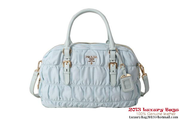 Prada Gaufre Fabric Top Handle Bag BN0759 Light Blue