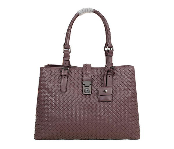 Bottega Veneta Sheepskin Intrecciato Roma Bag BV7453 Purple