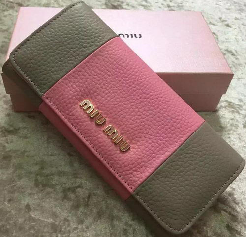 miu miu Litchi Leather Bi-Fold Wallet 60170 Pink&Grey