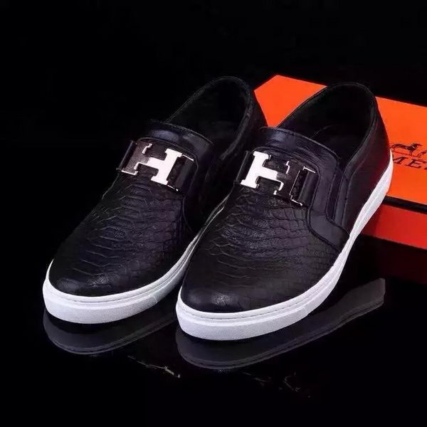 Hermes Casual Shoes Snake Leather HO0498 Black