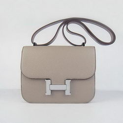 Hermes Constance Bag Grey Oxhide Leather Silver